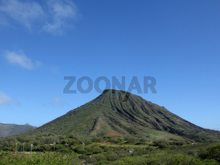 Koko Head Mountain with stair trail up side visible