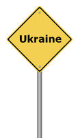 Yellow warning sign with the text Ukraine.