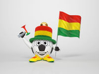 Soccer character fan supporting Bolivia