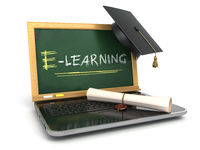 E-laerning education concept. Laptop with chalkboard, mortar board and diploma.