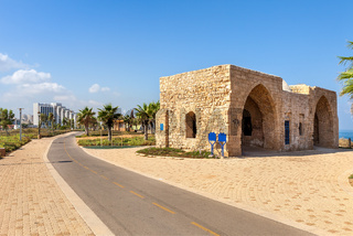Promenade and ancient tomb in Ashqelon, Israel.