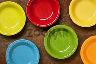 colorful ceramic bowls abstract