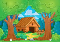 Tree theme with wooden building - picture illustration.