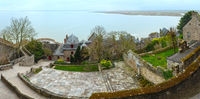 Inside the walls of Mont Saint-Michel (France). Spring panorama.
