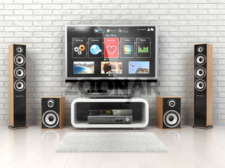 Home cinemar system. TV,  oudspeakers, player and receiver  in the room.