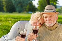 Glückliches Paar Senioren trinkt Rotwein im Garten