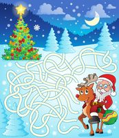 Maze 12 with Santa Claus and deer - picture illustration.