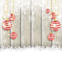 Snowfall Red Baubles Ash Wooden Background