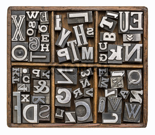 metal type alphabet