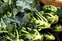 Fresh broccoli sold at a market