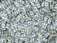 Packs of dollars Background. Lots of cash money.