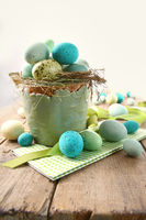 Speckled eggs  in bowl for Easter