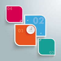 Round Colored Quadrates Template 4 Options Bevel Line PiAd