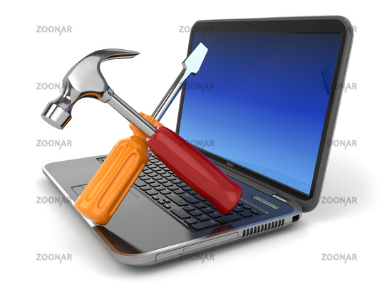 Online support. Laptop with screwdriver and hammer.