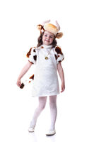 Image of pretty little girl in cow costume