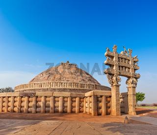Great Stupa - ancient Buddhist monument. Sanchi