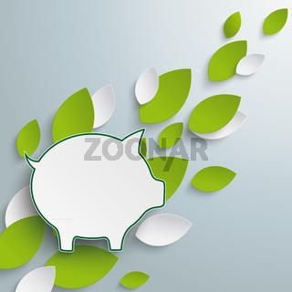 Piggy Bank Green Leaves PiAd