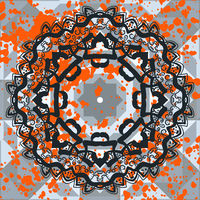 Black ornate mandala with orange splashes. Vector decorative background