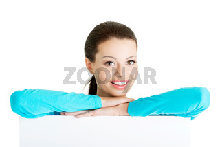 Portrait young happy woman with blank board