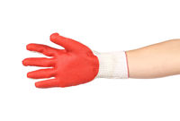 Rubber protective red glove.