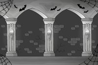 Black and white haunted interior - picture illustration.