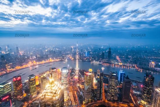 magic city of shanghai in nightfall