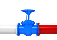 Gas pipes valve connection with russian flag