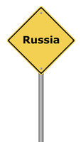 Yellow warning sign with the text Russia.