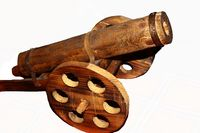 Wooden cannon statue