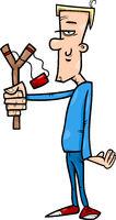 hooligan with slingshot cartoon illustration