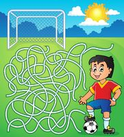 Maze 5 with soccer player - picture illustration.