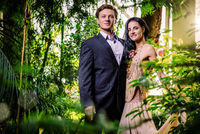 Beautiful fashionable couple in a forest