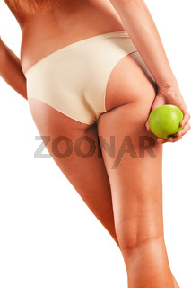 Slim woman's body isolated on white background
