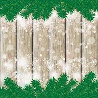 Christmas Fir Twigs Wooden Centre Snow