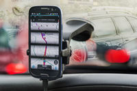 Smartphone with Navigation - App on the windscreen