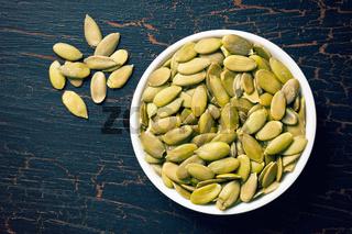 pumkin seeds in bowl