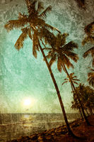 Grunge texture with ocean landscape in vintage style. Beautiful sunset at tropical beach with palm trees. India