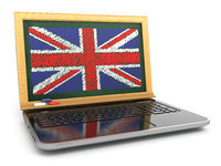 English online. E-learning. Laptop and blackboard with UK flag