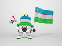 Soccer character fan supporting Uzbekistan