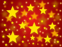 Golden christmas stars on a red background.
