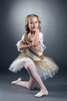 Amazing little ballet dancer posing at camera