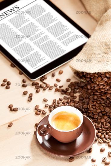 Coffee enjoyment with news on digital media
