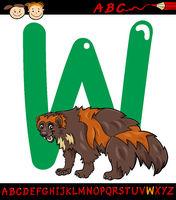 letter w for wolverine cartoon illustration