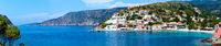 Summer view of Assos village (Greece,  Kefalonia). Panorama.