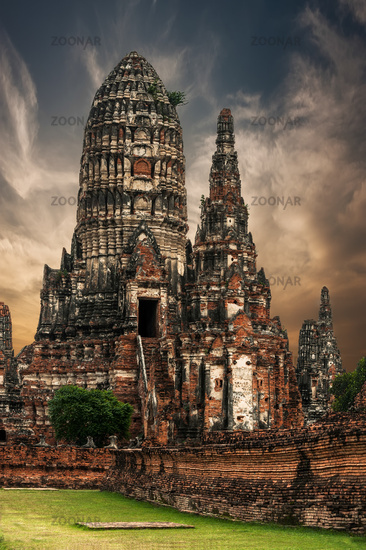 Buddhist pagoda ruins Chai Watthanaram. Thailand