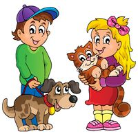 Children with pets theme 1 - picture illustration.