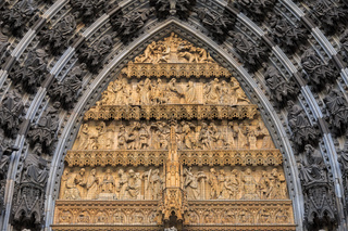 Statues of the saints above the entrance of Cologne cathedral