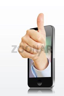 Hand im Smartphone hält Daumen hoch
