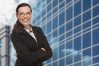 Confident Attractive Mixed Race Woman in Front of Corporate Building