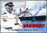 ST. THOMAS AND PRINCE ISLANDS - 1998: shows Captain Edward John Smith and Titanic
